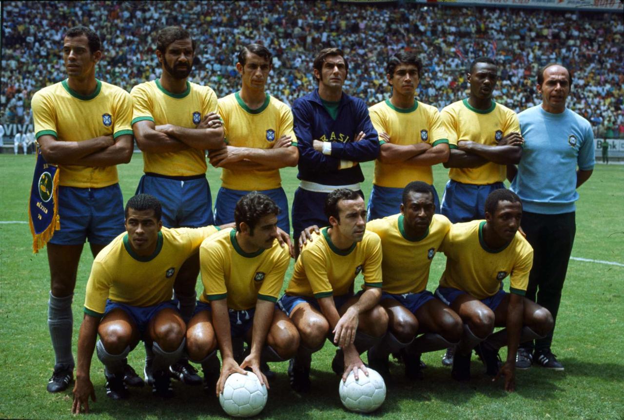 Clodoaldo with the 1970 World Cup-winning Seleção
