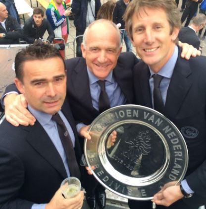 Marc Overmars Michael Kinsbergen and Edwin Van der Sar with the Eredivisie shield
