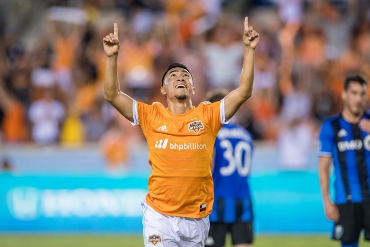 Memo pointed to the heavens after scoring his first MLS goal